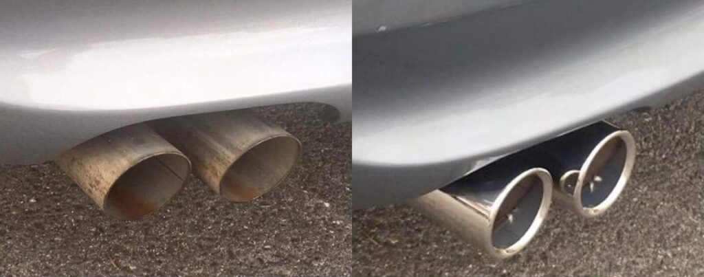 e90 328i exhaust tips before after